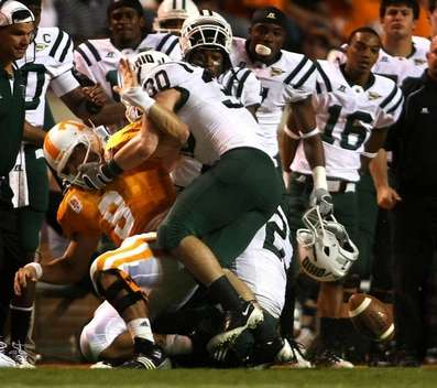 Tennessee QB Crompton's fumble near the sideline nearly produced a game-changing play for Ohio. The Tennessean Photo by Larry McCormack.