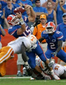 Tim Tebow fumbles the ball to the Vols just in time to give Tennessee a bit of hope. AP Photo-John Raoux.