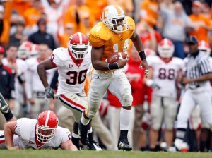 Eric Berry is on the run after gathering what turned out to be a Georgia fumble. Photo by Andy Lyons.