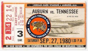 Auburn Tennessee 1980 ticket stub