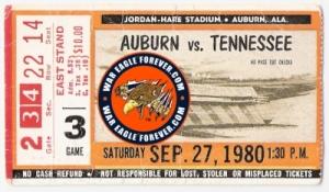 Auburn Tennessee 1980 ticket stub