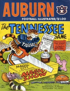 Auburn vs Tennessee 1972 Game Program