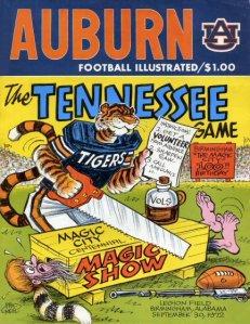 Auburn vs Tennessee 1972 Game Program