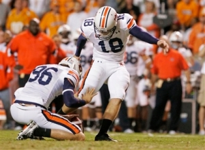 Auburn's PK Wes Bryum kicked 4 FGs for the Tigers. AP Photo.