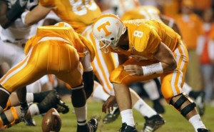 Vol QB Jonathan Crompton fumbles the snap in the first quarter. Photo by Michael Patrick.