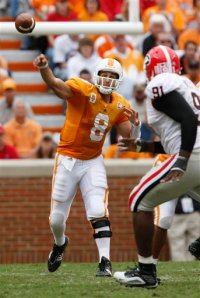 A reborn Jonathan Crompton has his best day as a Vol, throwing for 310 yards. AP Photo/Wade Payne.
