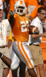 Lamarcus Coker hauled in a 56-yard pass thrown by receiver Lucas Taylor to give the Vol faithful some fun.