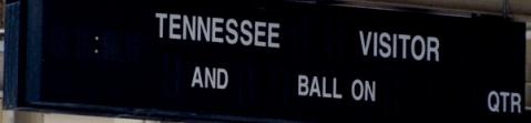 Scoreboard in concourse