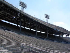 The now-demolished upper deck of Legion Field.