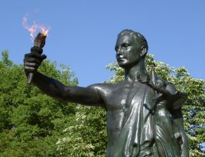 The torchbearer on campus symbolizes the Volunteer spirit, displaying initiative and service in the best interest of both the University and one's peers.