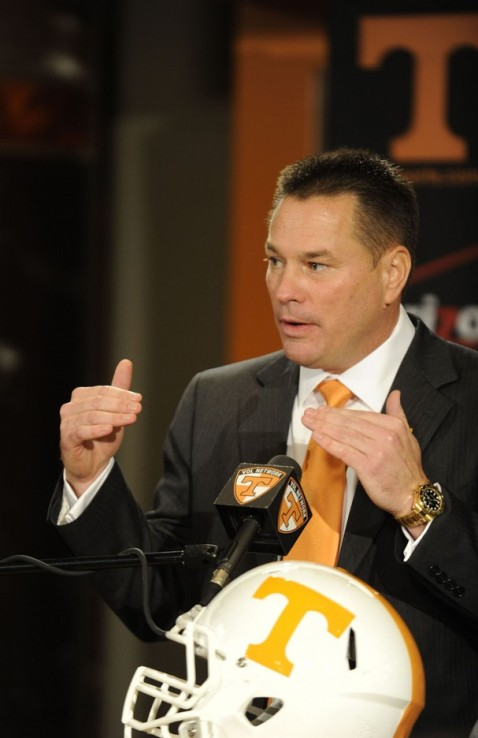 Butch Jones lays out his vision for his new job. Photo courtesy KNS.