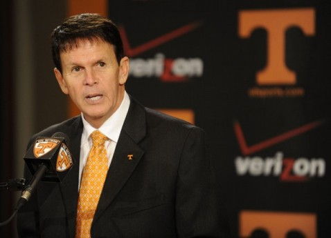 Dave Hart addresses the media at the press conference announcing Butch Jones as his man. Photo courtesy of KNS.