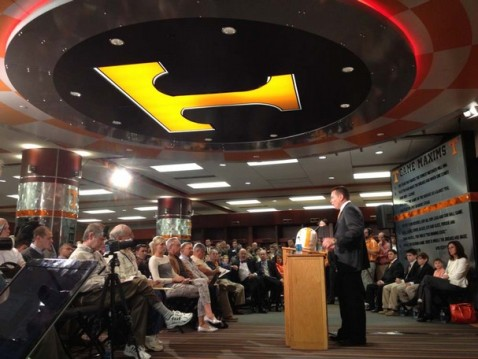 The unveiling of Butch Jones as Tennessee's new head football coach. Photo courtesy KNS.