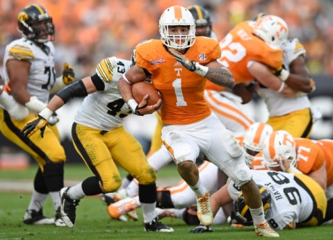 Jalen Hurd runs riot over the Iowa defense. (ADAM LAU/NEWS SENTINEL)